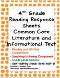 Fourth Grade Reading Response Sheets-Distance Learning