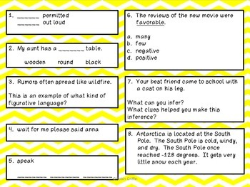 Fourth Grade Reading Review Common Core Week 15-20