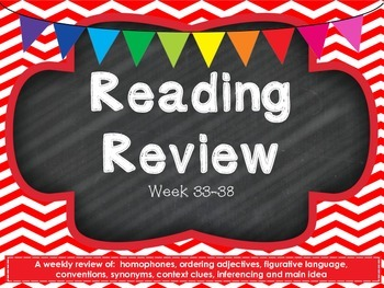 Fourth Grade Reading Review Common Core week 33-38