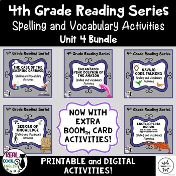 4th Grade Reading Street Spelling & Vocab (Unit 4 Bundle - Printable ...