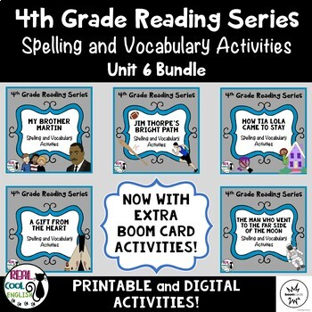 Fourth Grade Reading Series Spelling and Vocabulary Activities (Unit 6 Bundle)