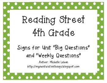 Fourth Grade Reading Street Unit Question Signs