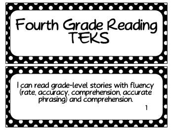 Fourth Grade Reading TEKS- White Dots on Black