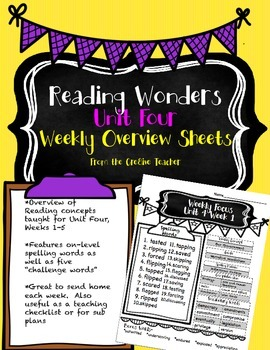 Fourth Grade Reading Wonders-Unit FOUR Weekly Overview Sheets