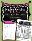 Fourth Grade Reading Wonders-Unit One Weekly Overview Sheets