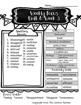 Fourth Grade Reading Wonders-Unit SIX Weekly Overview Sheets