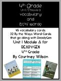 Fourth Grade ReadyGen Unit 1 Module A Vocabulary