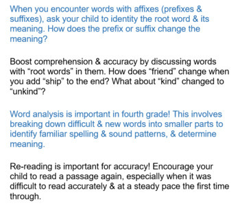 Fourth Grade Remind friendly home reading tips common core