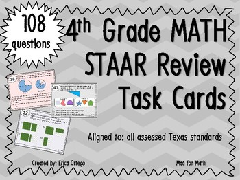 NEW Fourth Grade Review Task Cards ALL STANDARDS 108 task