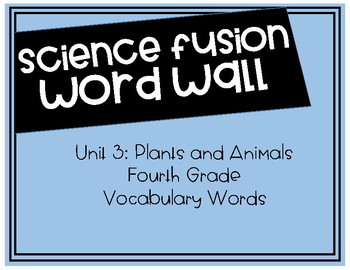 Fourth Grade Science Fusion - Unit 3 Vocabulary