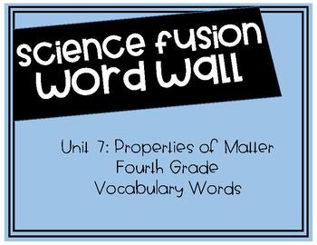 Fourth Grade Science Fusion - Unit 7 Vocabulary