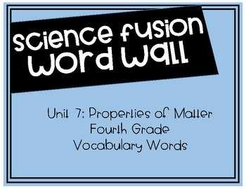 Fourth Grade Science Fusion - Unit 7 Vocabulary