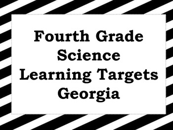 Fourth Grade Science Learning Targets (Georgia)