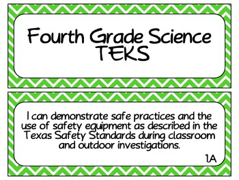 Fourth Grade Science TEKS ~ Green Chevron