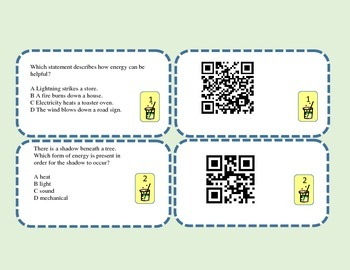 Fourth Grade Science Task Review Cards with QR Codes Self-check