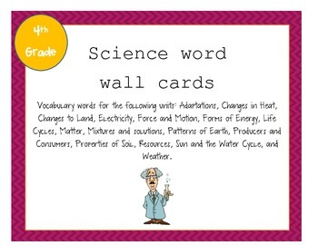 Fourth Grade Science Vocabulary Word Wall Cards