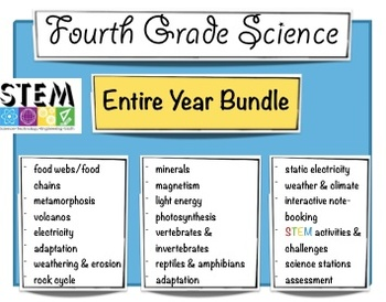 Fourth Grade Science - Year Bundle - STEM & Science Notebooks