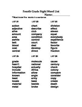 Fourth Grade Sight Words