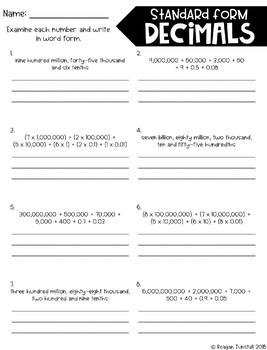 Fourth Grade Skill Pages Decimals