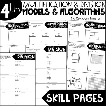 Fourth Grade Skill Pages Multiplication and Division Models & Algorithms