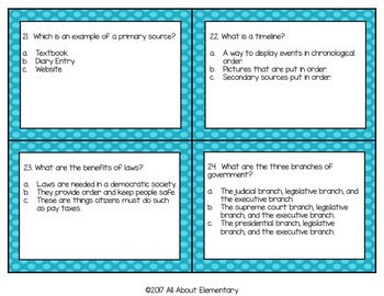 Fourth Grade Social Studies Task Cards Set #1