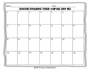 Fourth Grade Social Studies Task Cards Set #2