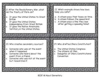 Fourth Grade Social Studies Task Cards Set #3