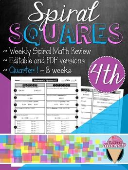 Fourth Grade Spiral Review Homework Squares - Quarter 1