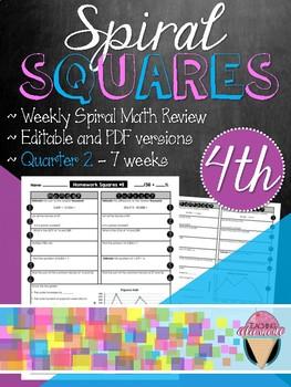 Fourth Grade Spiral Review Homework Squares - Quarter 2
