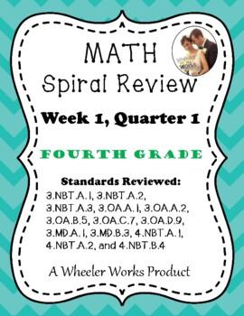Fourth Grade Math Spiral Review, Quarter 1, Week 1