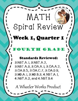 Fourth Grade Math Spiral Review, Quarter 1, Week 1