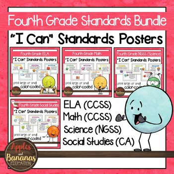 "Fourth Grade Standards - All Subjects ""I Can"" Posters & Statement Cards"