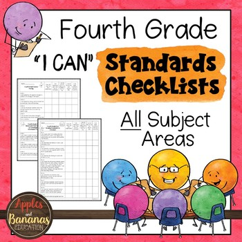 """Fourth Grade Standards Checklists for All Subjects  - """"I Can"""""""
