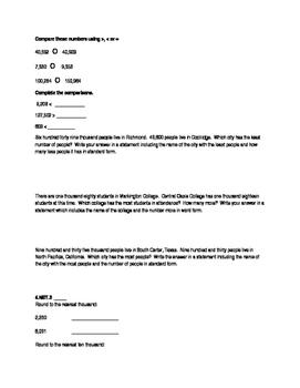 Fourth Grade Summative Math Assessment NBT1-5 and OA 1-5