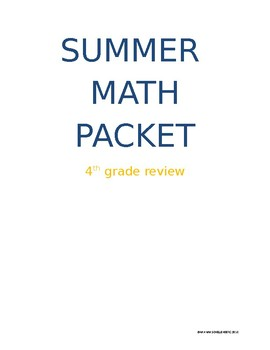 Fourth Grade Summer Math Review Packet