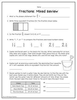 Fourth Grade Summer Math Review Packet (SOL 4.1-4.3)