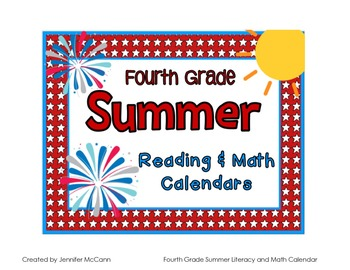Fourth Grade Summer Reading & Math Packet with June and July 2015 Calendar