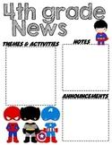 Fourth Grade Superhero - Editable Word Newsletter