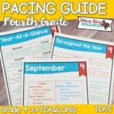 Fourth Grade TEKS Year Planner- Back to School-Texas 4th C