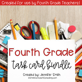 Fourth Grade Task Card Bundle of Resources for Interactive Learning