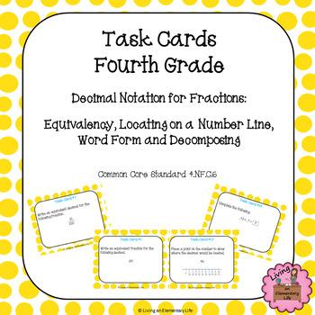 Fourth Grade Task Cards:  Decimal Notation for Fractions