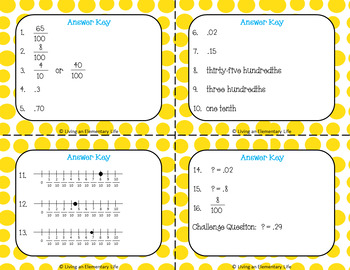 Fourth Grade Task Cards:  Decimal Notation for Fractions