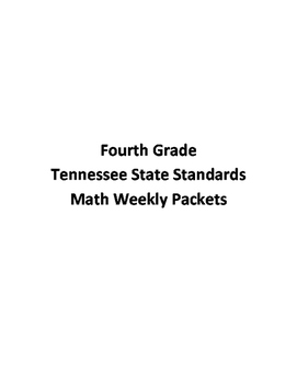 Fourth Grade Tennessee State Standards Math Weekly Packets Complete year