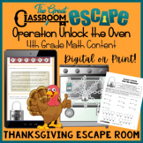 Fourth Grade Thanksgiving Math Escape Room (Digital or Print)