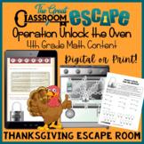 4th Grade Math Thanksgiving Themed Escape Room (Digital or Print) -