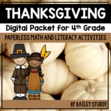 Fourth Grade Thanksgiving Math and Literacy Digital Packet