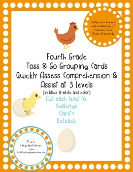 Fourth Grade  Toss & Go Grouping Cards Quickly Assess Comprehension & Assist