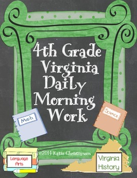 Fourth Grade Virginia Daily Morning Work or Bell Ringer