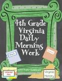 Fourth Grade Virginia Daily Morning Work or Bell Ringer