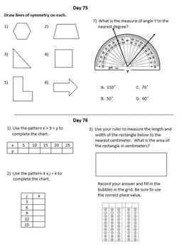 Fourth Grade Math Warm-Ups, Third Quarter